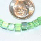 GREEN OPALESCENT GLASS BEADS-14 INCH STRAND