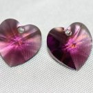2 SWAROVSKI CRYSTAL 10MM AMETHYST HEART BEADS
