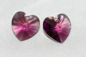2 SWAROVSKI CRYSTAL 10MM AMETHYST HEART BEADS