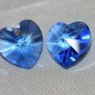2 SWAROVSKI CRYSTAL 10MM SAPPHIRE HEART BEADS