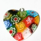 PATCHWORK GLASS HEART PUFFED PENDANT