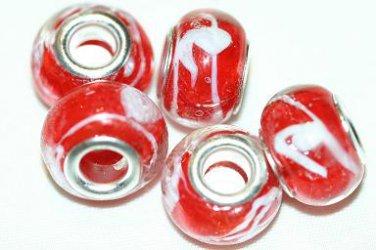5 EUROPEAN GLASS CHARM BEADS - RED WITH WHITE SWIRLS