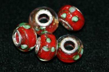 5 EUROPEAN GLASS CHARM BEADS - RED FLOWER
