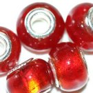 5 EUROPEAN GLASS CHARM BEADS - RED FOIL