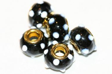 5 EUROPEAN GLASS CHARM BEADS -BLACK WITH WHITE DOTS