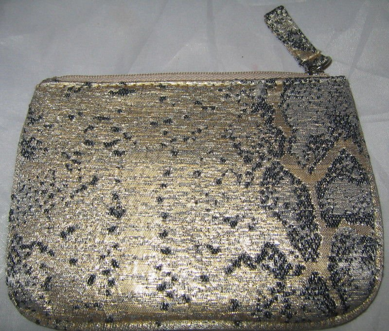 Charlotte Ronson Masquerade Gold Python Snake Print Cosmetic Zipper Pouch/Bag BN