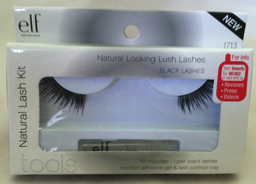 Elf Natural Looking Lush Black Lashes Kit BNIB Includes Comfort Adhesive Gel