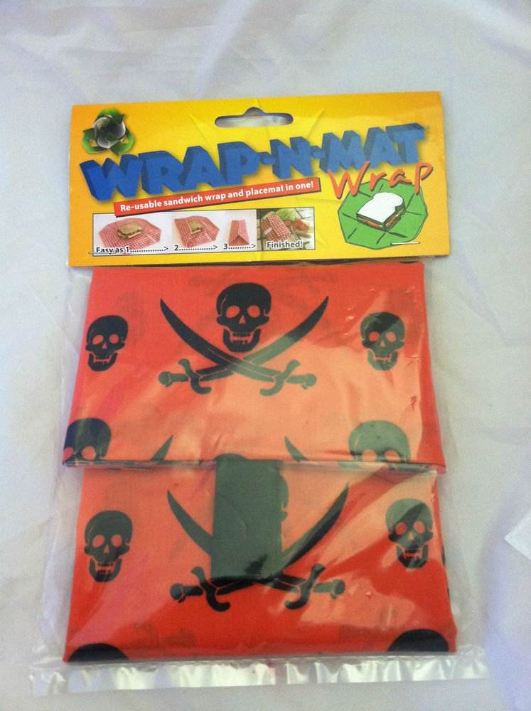WRAP-N-MAT®Re-usable Sandwhich Wrap And Placemat In One Pirates Red/Black Skull