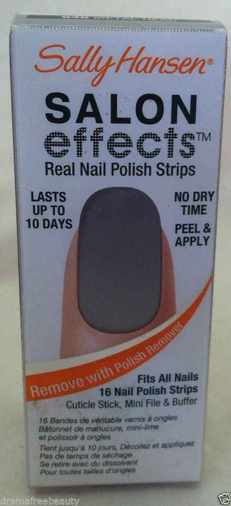 Sally Hansen Salon Effects Nail Polish Strips #640 *METAL HEAD* Gray Silver BNIB