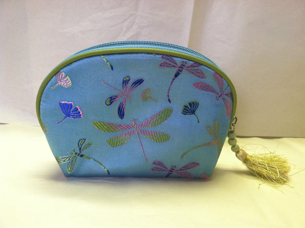 Celebrity Makeup / Cosmetics Carrying Case / Bag Tassle Iridescent Drangonfly