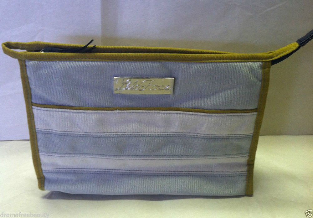 Lela Rose Makeup/Cosmetic Bag Cotton Canvas Material Gray/White Striped NEW