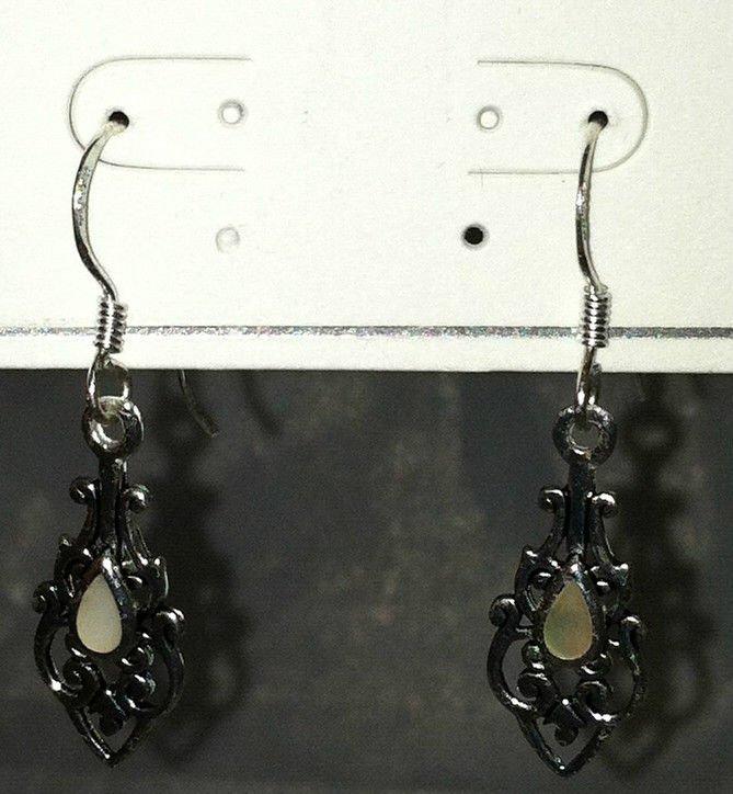 American Eagle .925 Sterling Silver Opal Tear Drop Dangle Earrings Brand New
