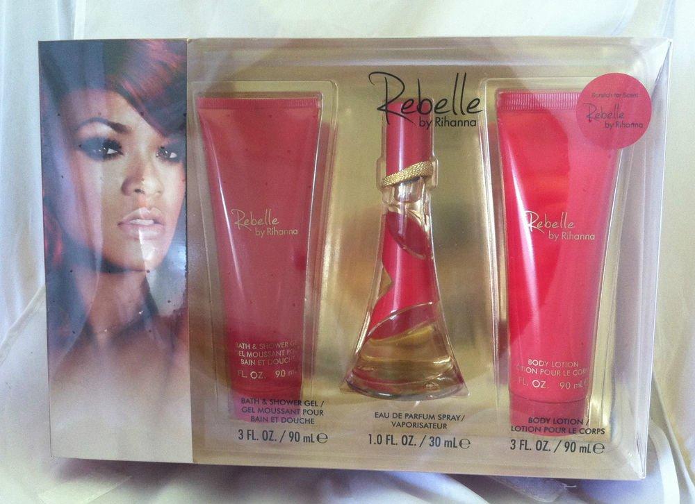 REBELLE by Rihanna *Eau De Parfum Spray, Gel & Body Lotion* 3pc Gift Set Lot NIB