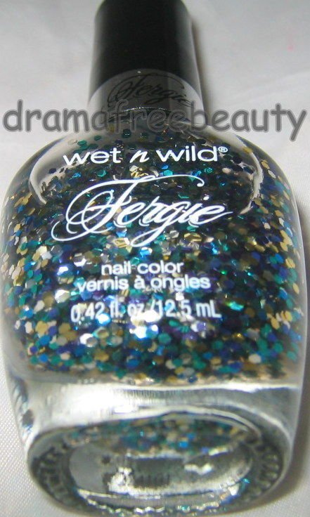 Wet n Wild FERGIE Nail Polish *KALEIDOSCOPE EYES* Blue Teal &Silver Hex Glitters