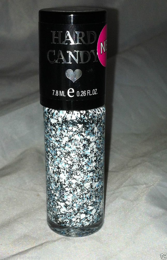 Hard Candy Nail Polish 733 * CANDY COATED * White Confetti Hex w/ Blue/Black New