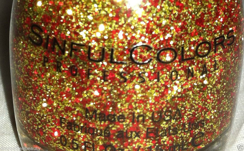 Sinful Colors Limited Edition Nail Polish *PUMPKIN SPICE* Gold & Red Glitters BN