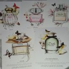 5pc Sephora Postcard Parfum Fragrance 5x6 TOCCA VERSACE DIOR CHLOE DOLCE & GABBA