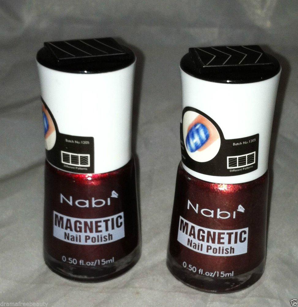 Nabi Magnetic Nail Polish 2pc Lot * 29 DARK WINE / 30 BLACK BERRY * Red Shimmer