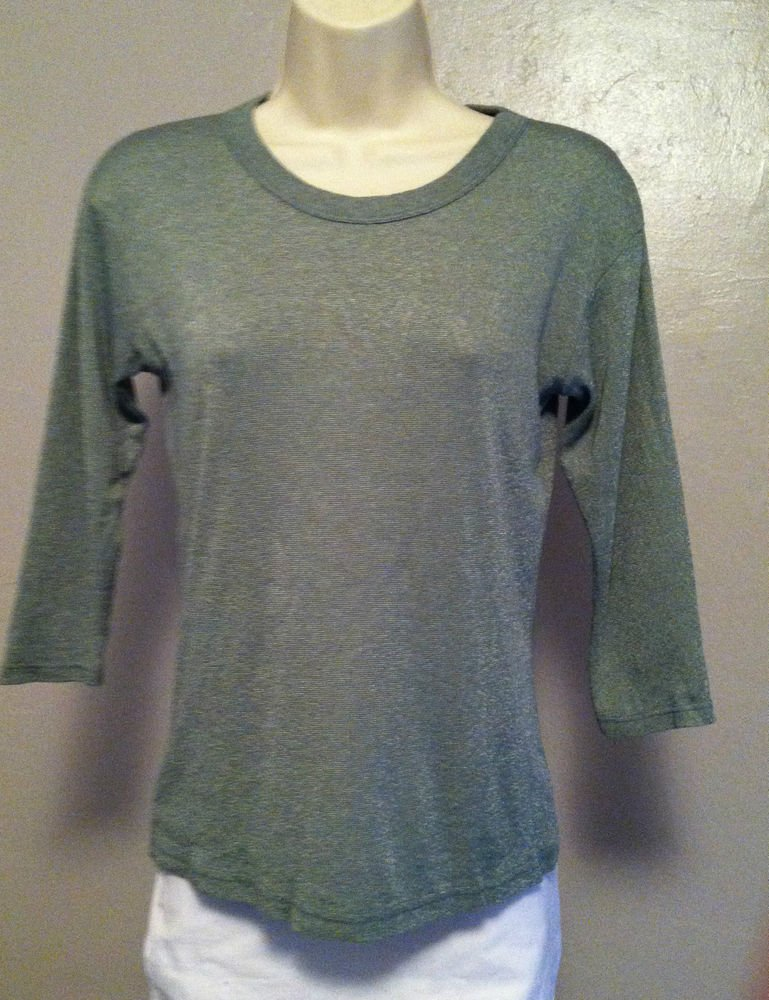 MICHAEL STARS Womens Green 3/4 Sleeve Shimmery Shirt Stretch One Size Fits Most