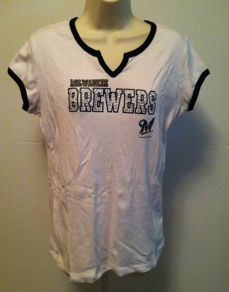 Milwaukee Brewers Juniors  Studded Lettering T-Shirt / TEE Genuine Merchandise
