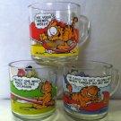 Vintage Garfield Glass Coffee Mug 3pc Lot 1978 McDonald's Collectible Jim Davis