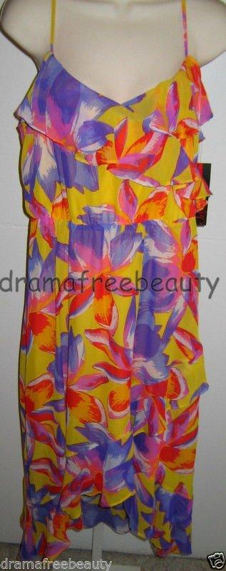 SOFIA Vergara Women's High-Low Yellow/Purple/Red Floral Ruffle DRESS Large/L NWT
