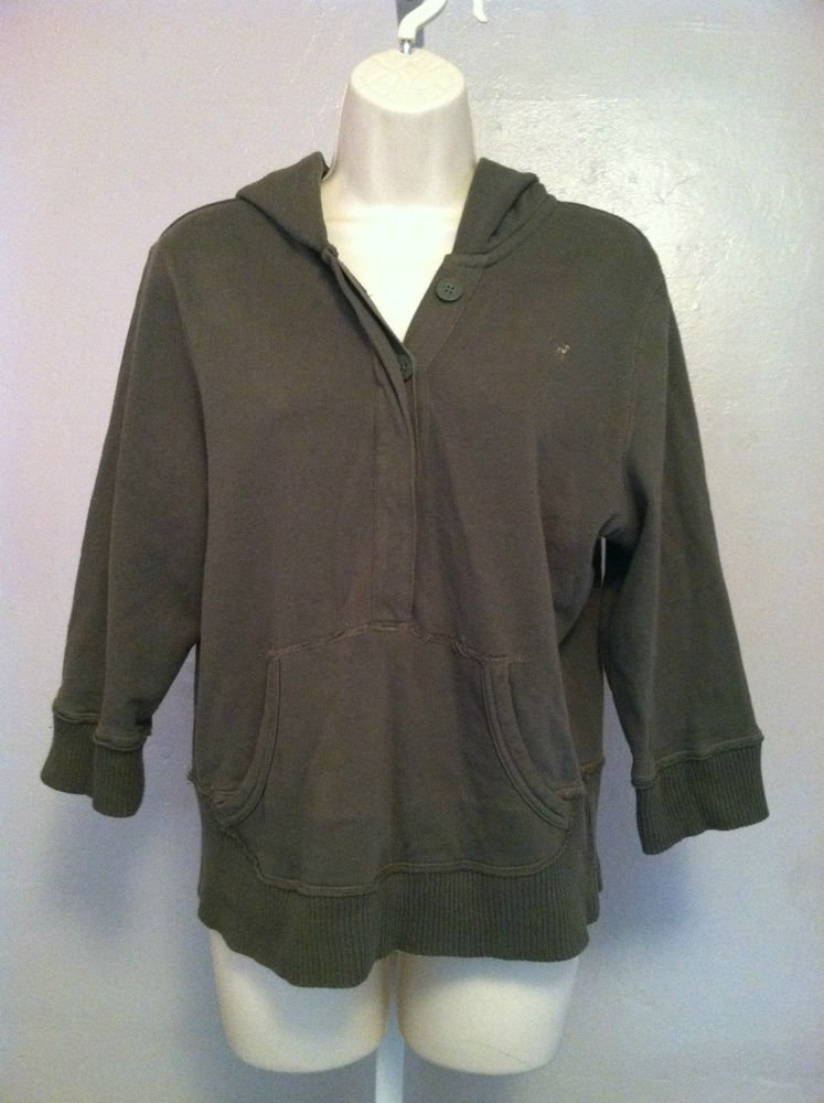 OLD NAVY Juniors X-Large(XL) 3/4 Sleeve Hoodie Button Up V-Neck Design green