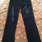 Baby Phat Jeans Juniors Size 7 Ripped Cat Design Style # EK5349RS Dark Blue