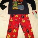Angry Birds Boys Medium Pajama Set Top / Bottom Black / Red with Bird Characters
