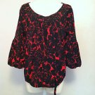 Worthington Womens Stretch Red and Black Boat Neck 3/4 Bubble Sleeve Top BNWT