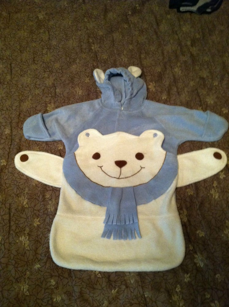 Adorable White Bear 0-6 Months Fleece Bunting Suit Hooded With Ears Light Blue