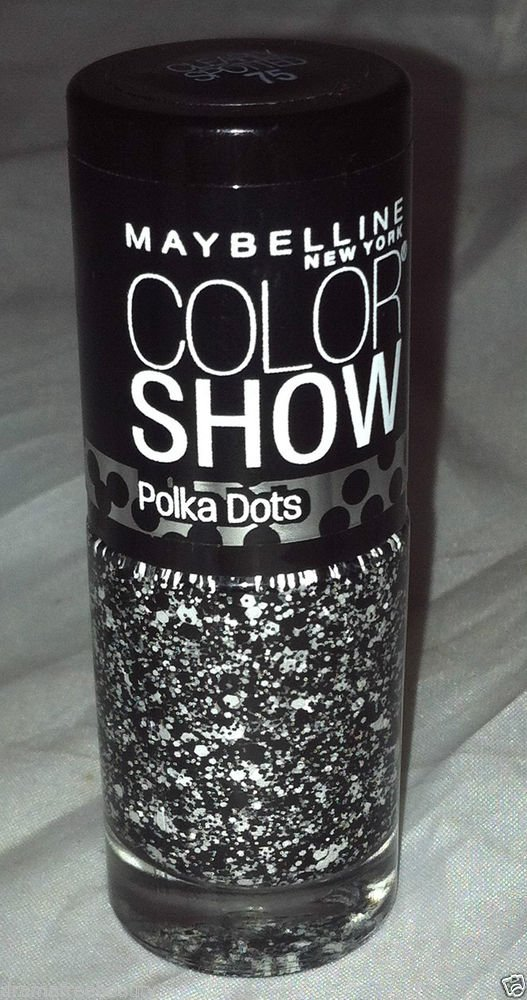 Maybelline Color Show Nail Polish Polka Dots * 75 CLEARLY SPOTTED * Black/White