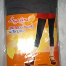 Angelina Footless Tights w/Lace Dark Gray One Size Fits All (Small) S Brand New