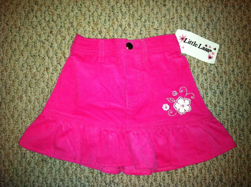 Little Lass Floral Embroidered 2T Pink Corduroy Skirt BNWT