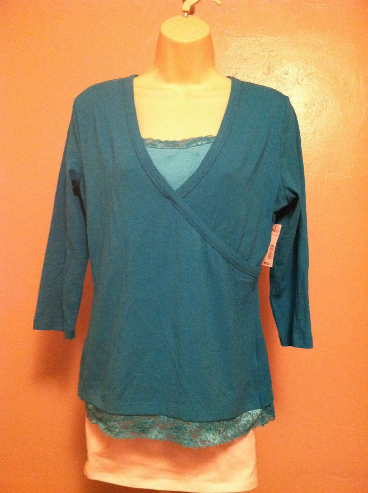 ST. JOHN'S BAY Womens Medium Marine BlueStretch 3/4 Sleeve V-Neck TOP Lace Trim