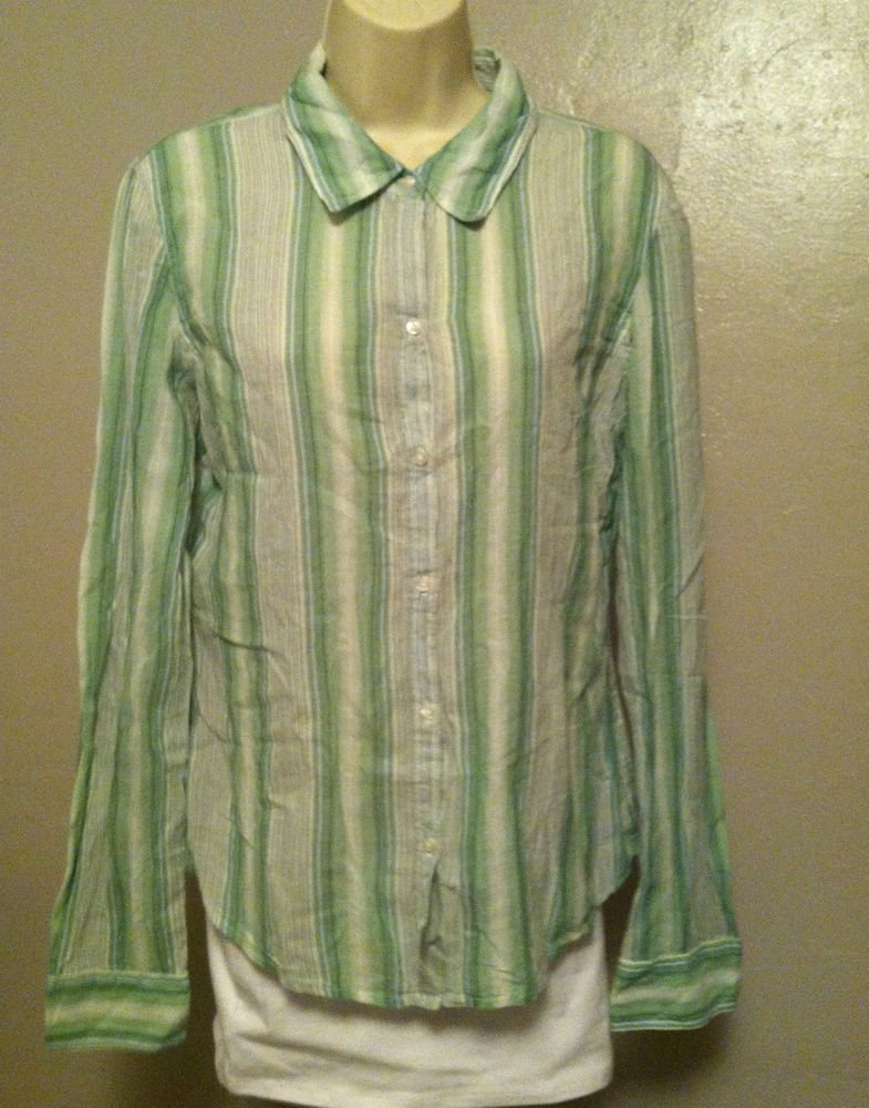 Arizona Jean Co. Womens Large Emerald Green Striped Button Down Shirt/Blouse NW