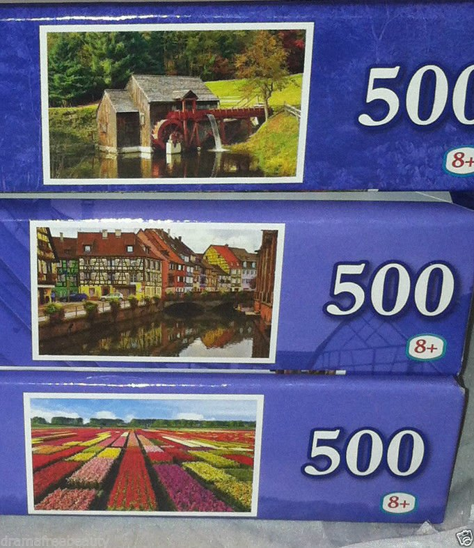3 Puzzlebug 500 pc Puzzle Lot *OLD GRIST MILL/COLORFUL STREET/FIELD OF TULIPS*