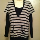 Oh Boy! by Motherhood Large Black and Gray Striped Womens Light Weight Hoodie