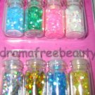 BN Donna Michelle NAIL ART 8 Mini Bottles *Holo Hexagons* Silver Gold Pink Green