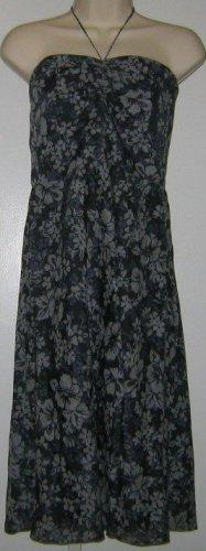 J. Crew Dark Navy Blue Floral Print Strapless Knee-Length Dress Size 10 P Petite