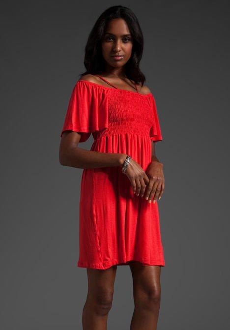 James & Joy AUBREY Orange Off-Shoulder Flutter Sleeve Smocked Empire Dress NWT M
