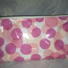 Clinique Pink Polka Dot Cosmetic / Makeup Bag / Carrying Case with Mini Brushes