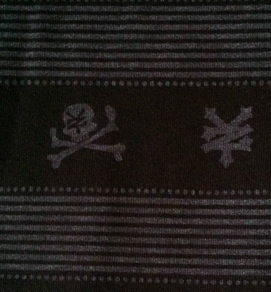 Black/Gray Stripes Asian Skulls Cross Bones Stretch Knit Cotton Sewing Farbric