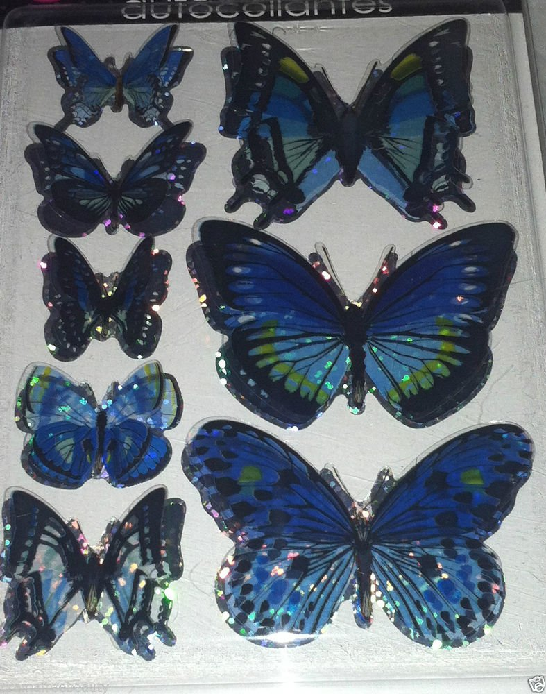 Holo Blue/Green *3-D BUTTERFLY Stickers* Hand Made Autocollantes Wings Look Real