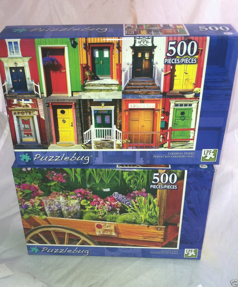 2 Puzzlebug 500 Pieces *COLORFUL DOORS & FLOWER CART * Puzzle Lot Sealed BN