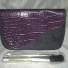 GLOSS Cosmetic / Makeup Bag Purple Alligator Skin Design Magnetic Top 3pc Brush