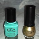 COLOR CLUB **AGE OF AQUARIUS** / VENIQUE **GOLD** Mini / Travel Nail Polish Lot