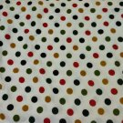 Large Polka Dot  Pattern Lightweight Knit Stretch Cotton Mat. Black/Green/Red