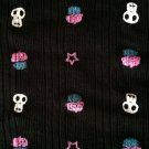 Skulls and Cupcakes Sewing Fabric Black Knit lightweight Stretch Cotton 64 X 57""