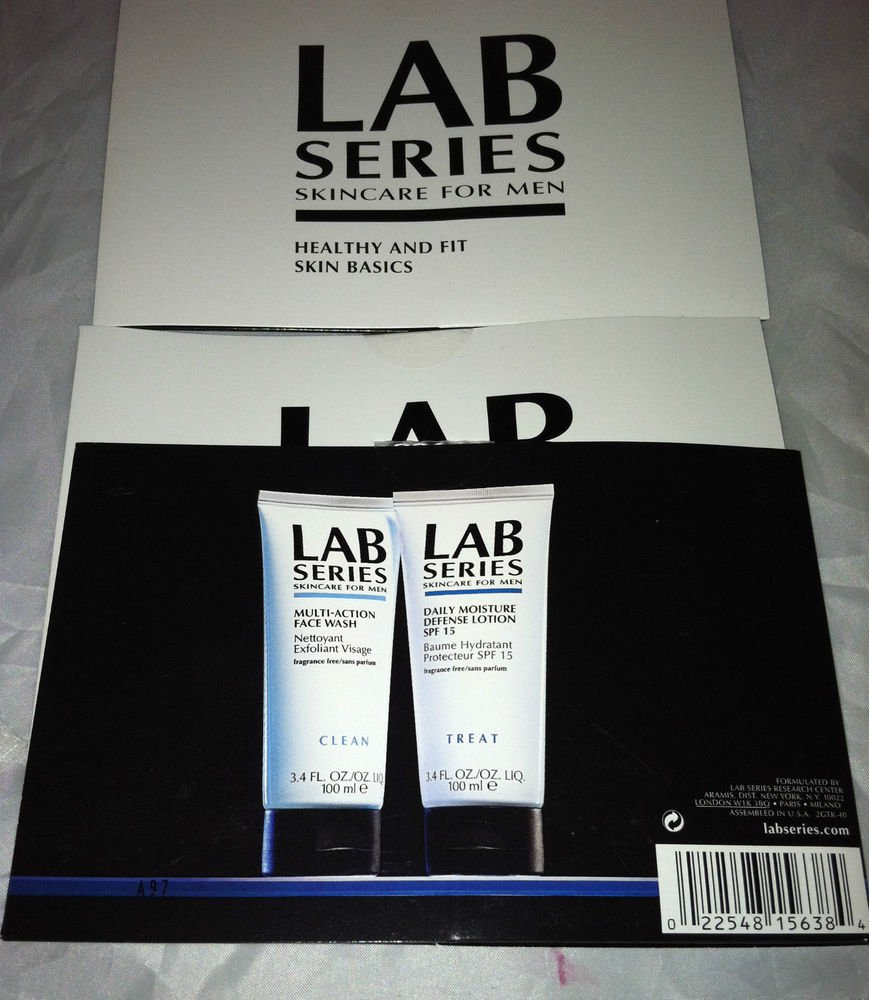 Lab Series Skincare For Men 3pc Travel/Sample Lot Face Wash/Daily Moisture Def.